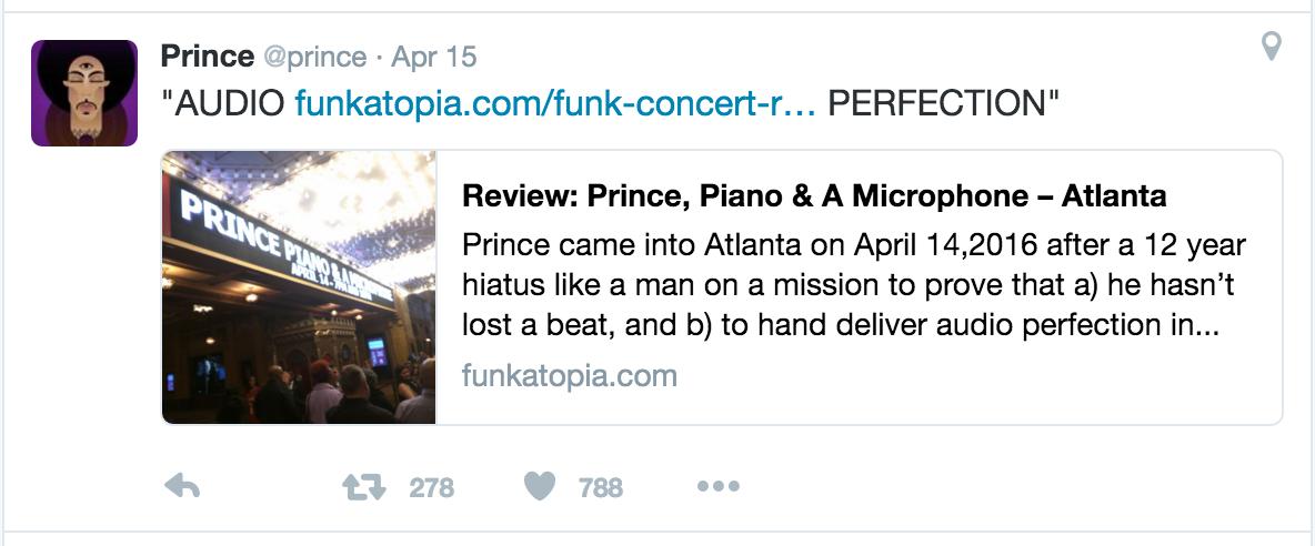 Prince tweets Funkatopia